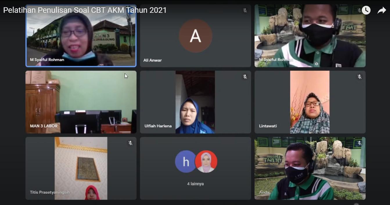 PELATIHAN PENULISAN SOAL CBT AKM/ANBK TAHUN 2021